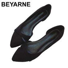BEYARNEWoman بسيطة Lesisure أحذية للمشي لا كعب الانزلاق على تو الضحلة قطيع الموضة Zapatos زائد Size35 46E740