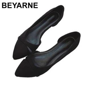 Image 1 - BEYARNEWoman Simple Lesisure Shoes For Walking No Heel Slip on Shallow Toe Flock Fashion Zapatos Plus Size35 46E740