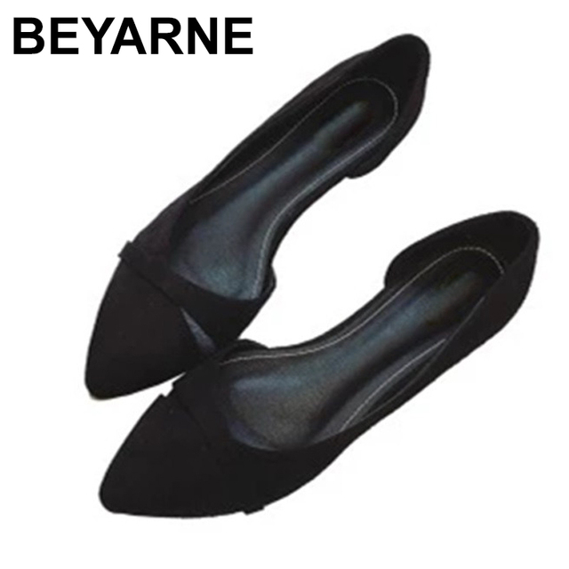BEYARNEWoman Simple Lesisure Shoes For Walking No Heel Slip on Shallow Toe Flock Fashion Zapatos Plus Size35 46E740