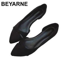 BEYARNEWoman/простая прогулочная обувь без застежки на каблуке; Модная обувь из флока с закрытым носком; Zapatos; Большие Size35 46E740