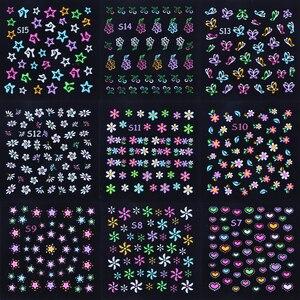 Image 5 - 24pcs 3D Fluorescente Unghie artistiche Adesivi Incandescente Fogli Arcobaleno di Fiori Modelli Cursori Adesivo Decorazioni Del Chiodo Manicure TRS1 24