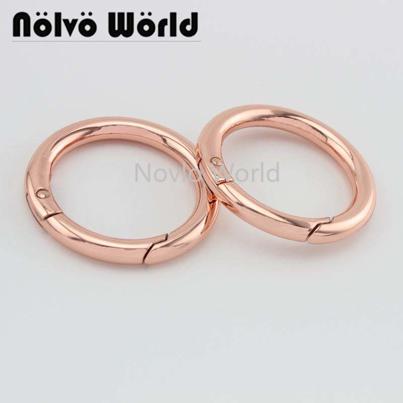 Wholesale 500pcs, Inner Width 33 Mm 1-1/4 Inch Rose Gold High Quality Metal O Ring Spring Ring Bags Circle Hardware Accessories
