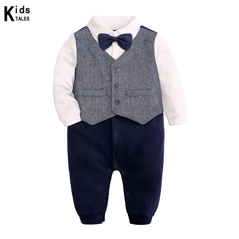 Модная одежда для новорожденных Для маленьких мальчиков джентльменский деловой костюм для мальчиков зимний комбинезон с длинным рукавом комбинезон галстук для смокинга наряд Одежда для детей от 0 до 24 месяцев, Bebes, подарок