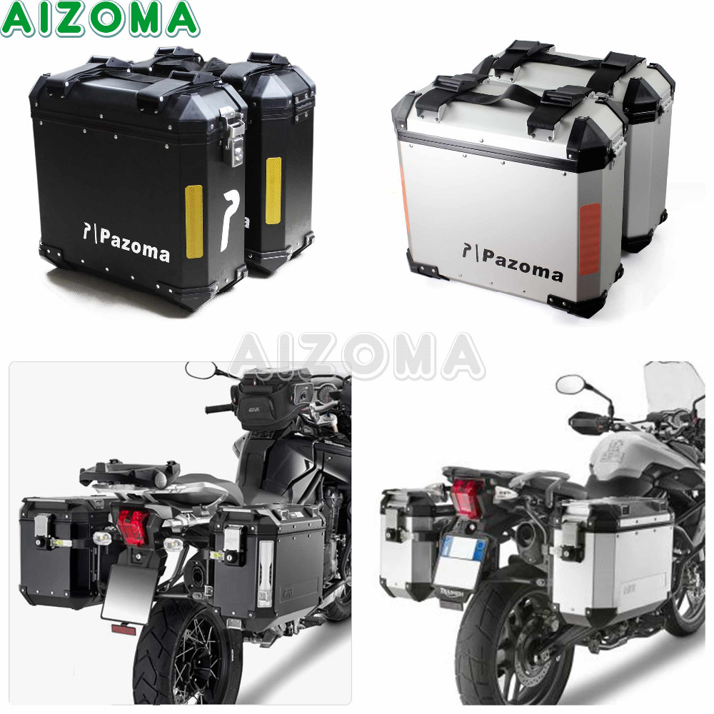 Silver/Black 36L Aluminum Side Hardbags Kit Motorcycle Side Box Storage Luggage Cases w/Mount Bracket For Yamaha Triumph BMW Box 18 kinds of common electrolytic capacitors set w storage box for pc green 180 pcs