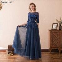 Elegant Long Evening Dress Formal Gowns Navy Blue Sequins Evening Dresses 2018 Half Sleeves Vestido De Festa Robe De Soiree