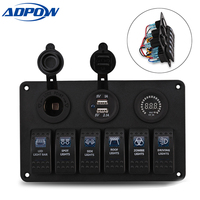 ADPOW 6 Gang Switch Panel Dual Usb Car Charger 12V Voltmeter Auto Boat Marine Cigarette Lighter Led Rocker Switch Panel