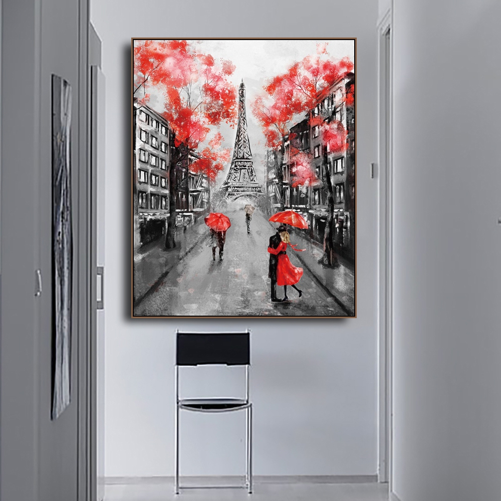 Laeacco Canvas Calligraphy Painting Modern Paris City Street Posters and Prints Wall Artwork Picture Living Room Home Decoration in Painting Calligraphy from Home Garden