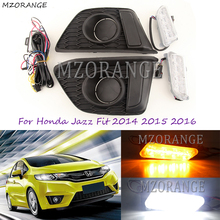 цены Car Flashing 12V Daylight For Honda Jazz Fit 2014 2015 2016 DRL Fog Lamp Cover Daytime Running Lights with Turn Signal Light