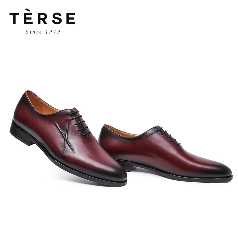 TERSE Men`s Shoes Handmade Cow Leather Oxford Leather shoes Casual Formal Vintage Shoes For Male Breathable 1515-16 201818 men s casual shoes apj