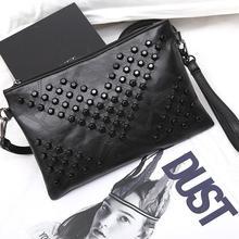 High Quality Fashion Black Envelope Women Clutch Rivet Girls Leather Party Purse Small Shoulder Handbag Evening