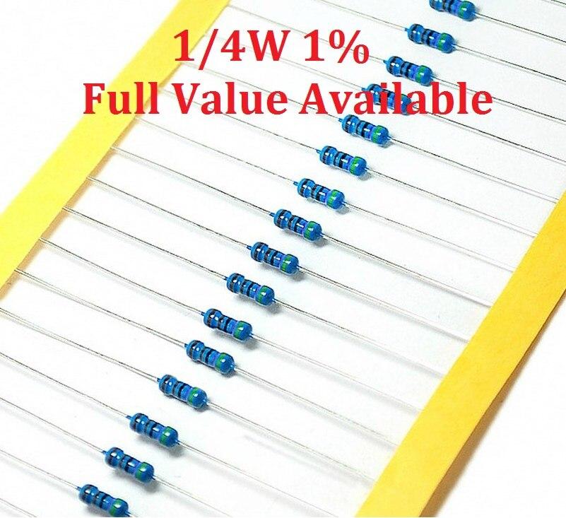 100 PCS/LOT 1/4W 15R/18R/20R/22R/27R résistance à film métallique 15/18/20/22/27 ohm 1% 0.25W résistances couleur anneau résistance