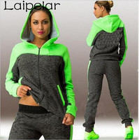 Hot 2 Piece Set Women Patchwork Casual Hoodies Pink and Green Hooded Sweatshirts With A Zipper Tracksuit Woman Sweat Pants Large