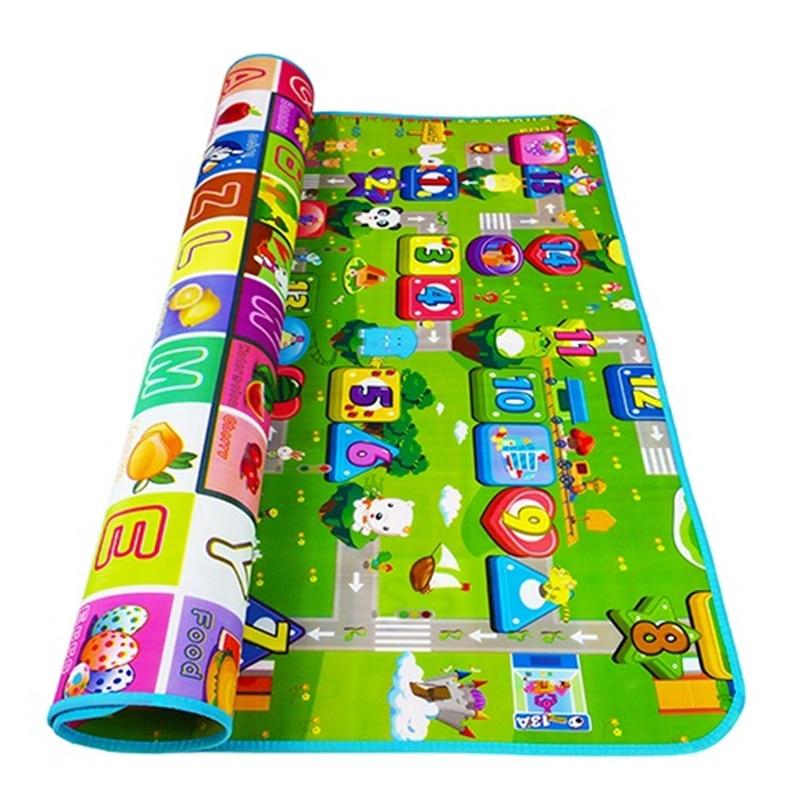 Dubbelsidiga babyspelsmattor Spädbarnskrapa Mats Barn Gym Mattor - Leksaker för spädbarn