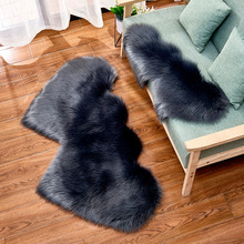 OHEART Large Faux Fur Double Love Heart Artificial Wool Carpet Soft Shaggy Area Rugs Floor Mat For Bedroom Living Room Decor