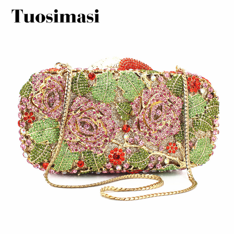 2015 New Graceful Rose Flower Shape Handmade Crystal Clutch Bag new original for lenovo t530 t530i integrated cpu cooling heatsink fan 04w6905 04w6904 04w6906