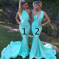 Mermaid Bridesmaid Dresses 2017 Dama Dresses Mismatched Turquoise Blue Long Cheap Sexy Bridesmaid Attires Wedding Guest Dresses