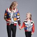 2016 Nuevo Diseño de la Ropa de la Familia Niña Imprimir Holgados moda Abrigo de cuello alto de manga larga de Europa y América chaquetas de Béisbol