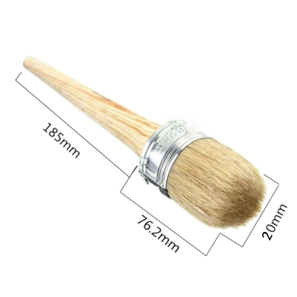 1 pc 20mm/30mm mango de madera pintura pinceles de cera 185mm de largo cerdas redondas tiza pintura al óleo DIA