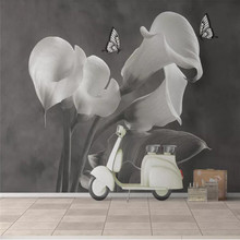 Customized wallpaper flowers and rich horseshoe lotus butterfly background wall high-grade waterproof material
