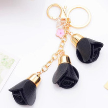 Fashion Leather Rose Flower Keychain Cute Tassel Key Chain Women Female Bag Pendant Jewelry