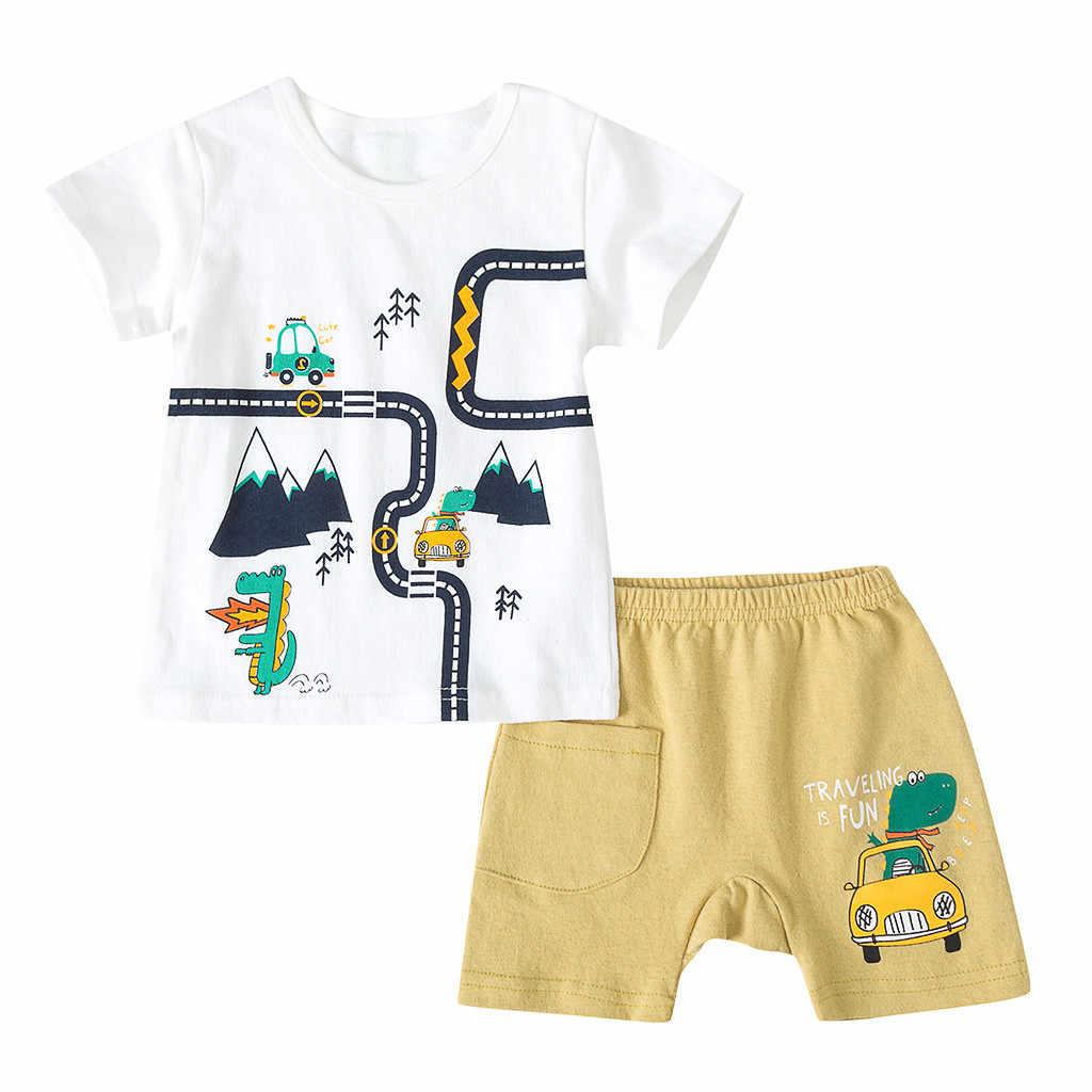 Bebek çocuk Boys kız spor giyim eşofman kısa kollu karikatür baskı üstleri şort kıyafetler seti erkek bebek giysileri Dropshipping