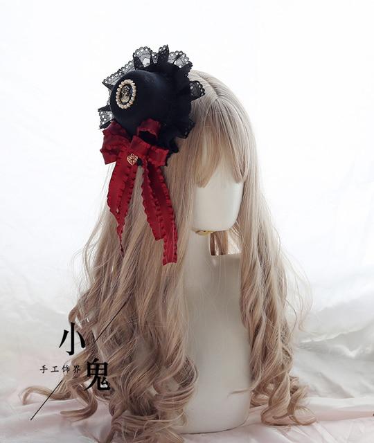 Vintage Dark Girls Gothic Lolita Pearls Bow Black Hat Headband Hair Accessories Headwear Women's Headdress Hair pin 2