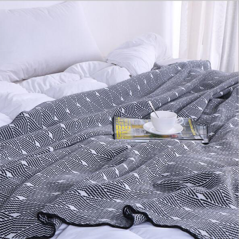 Wave pattern Blanket Knitted Woolen Soft Blanket Office Napkin Sofa Cotton Yarn Knitted Throw 1 2x1 6m Blanket Home Decor in Throw from Home Garden