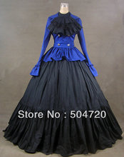 Blue cotton Classic Lolita dress/victorian dress Civil War Southern Belle Halloween dress US6-26 xs-6xl V-801