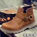 Outono inverno sapatos de couro cheia de grãos marca orange borracha plataforma botas curtas masculinos meados de bezerro botas de trabalho dos homens zapatillas hombre