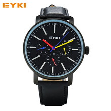 EYKI Mens Watches TOP Brand Luxury Analog Quartz Watch Waterproof Wrist Watches For Men Clock Leather Male Watch Relojes 2016
