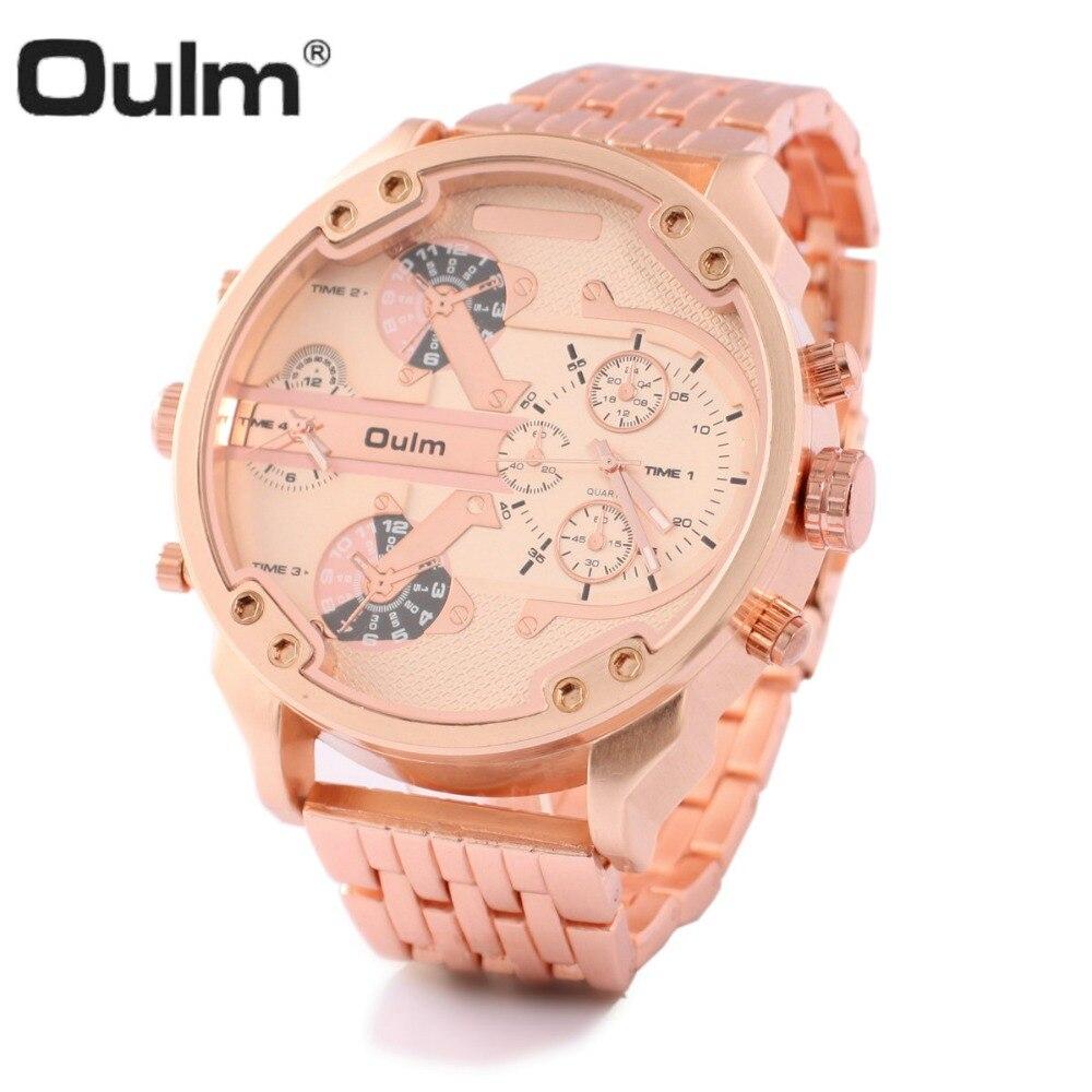 5e4459384e0 OULM Rosa de Ouro Mens Relógios Top Marca de Luxo Relógio Analógico 2 Fuso  Horário de