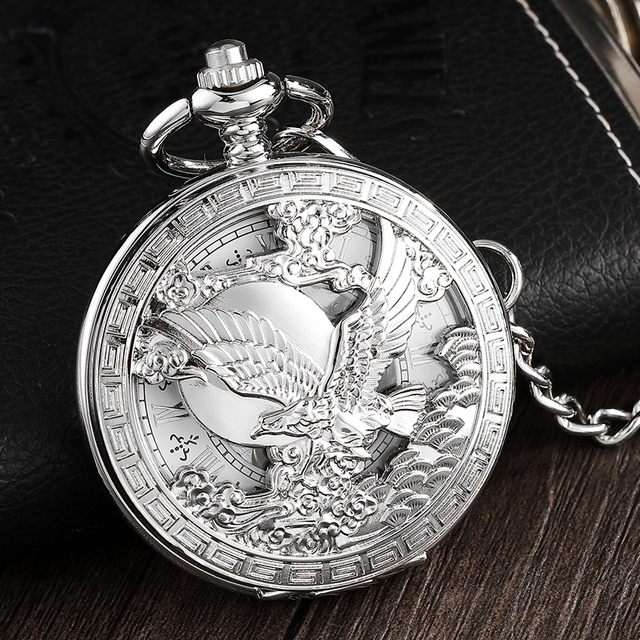 Luxury Silver Eagle Hand-wind Mechanical Pocket Watch Mens FOB Waist Chain Hollo