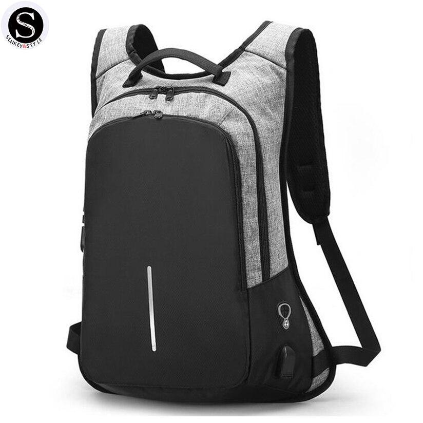 SENKEY Стиль Для мужчин рюкзак Школьные ранцы для подростков паролем Anti-Theft зарядка через USB Дизайнер Рюкзак Для женщин Водонепроницаемый сумк…