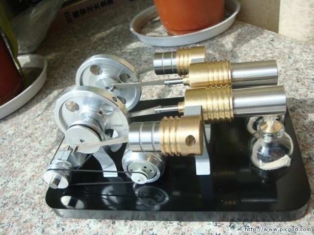 Dubbele Cilinder stirlingmotor model miniatuur Stirling generator turbines model science speelgoed educatief model