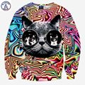 Mr.1991INC New! 3d sweatshirts Men/women Psychedelic glasses cat print fashion creative animal Hoodies long sleeve pullover