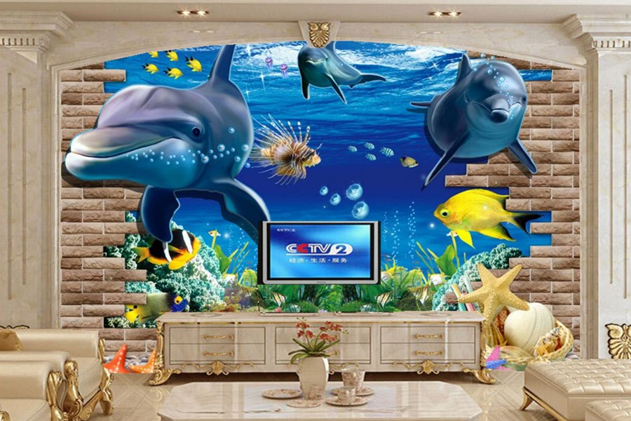 Large mural,3D three-dimensional Underwater World Cartoon Dolphin wallpapers,living room sofa TV wall children bedroom wallpaper cartoon dolphin children electric
