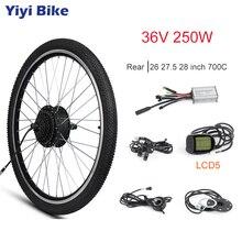 Электрический велосипед с бесщеточным двигателем Планетарная втулка е-байка 36В 250 Вт 26 «27,5» 28 «700C заднее колесо с шинным KT светодиодный мотор LCD велосипеды; комплект для переоборудования