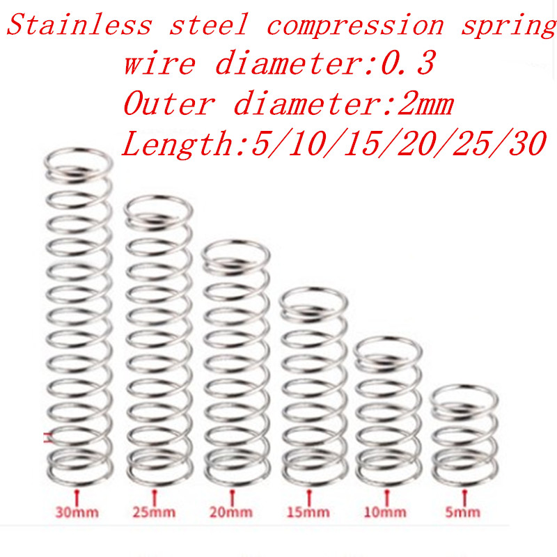 20pcs 0.3*<font><b>2</b></font>*<font><b>5</b></font>/10/<font><b>15</b></font>/20/25/30mm 0.3mm Stainless Steel Micro Small Compression spring OD 2mm image