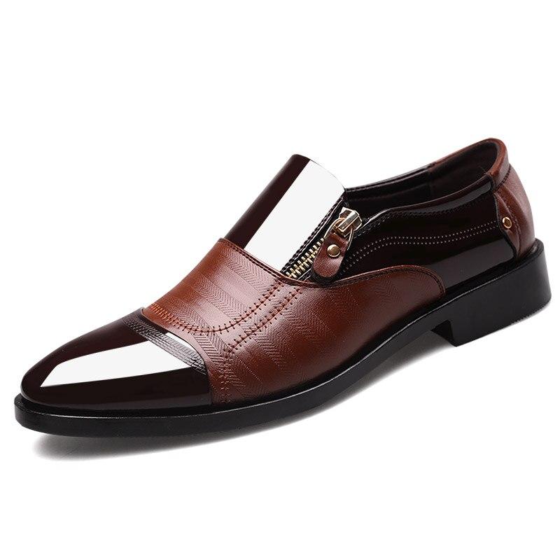 Lacets bllack Cuir Appartements En D'affaires Mâle Up Formelle Chaussures Robe Respirant marron Bout Up Pointu Zip Hommes Faible Verni Noir brown Homme Lace Automne Talons vAEqwzqxR
