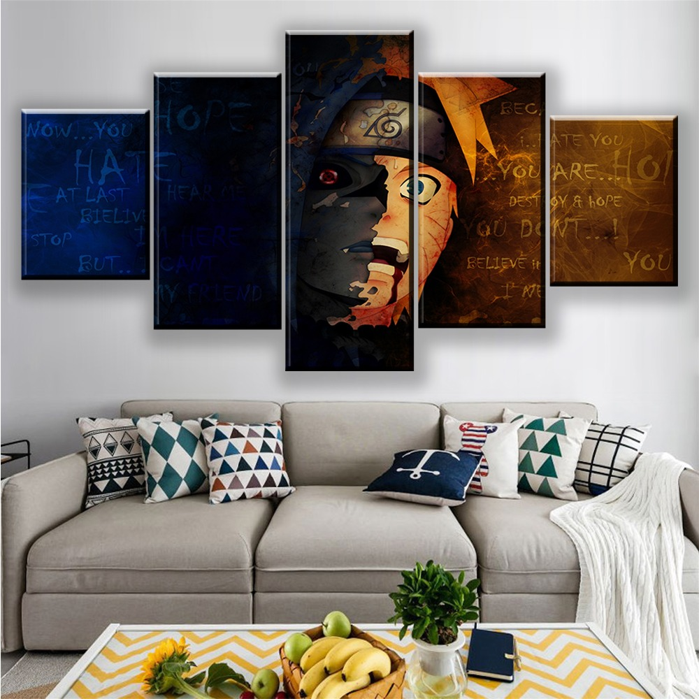 Canvas Print Home Decoration Painting Wall Art Poster Cartoon Naruto Character Role 5 Panel HD Modern Modular Pictures Framework in Painting Calligraphy from Home Garden