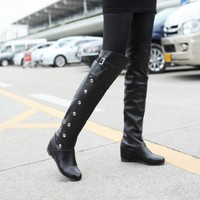 Fashion Knight Boots Black White Brown Female Knight Boots Leisure Martin Boots Warm Winter Long Boots