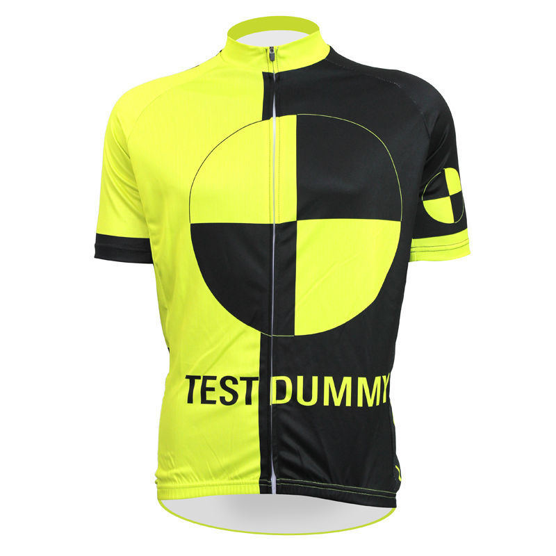 ФОТО Alien SportsWear TEST DUMMY Pattern Men Yellow top Sleeve Riding Clothing Summer 100%Polyester Breathable Cycling Jersey