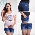 3009 # 3XL 4XL 5XL Cintura Elástica Pantalones Cortos de Mezclilla de Maternidad Del Vientre 2017 Ropa de Verano para El Embarazo Las Mujeres Embarazadas Pantalones Vaqueros Cortos