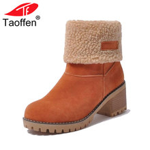 ФОТО taoffen size 34-43 women boots female winter shoes woman fur warm snow boots square high heels ankle boots black green boots