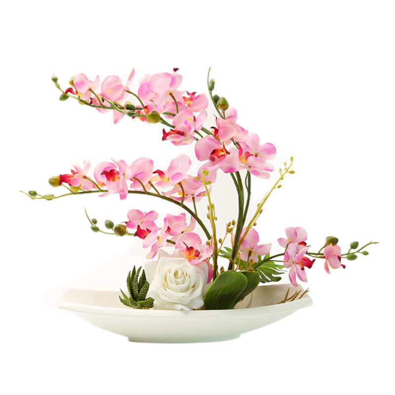 Home Decor Artificial Orchid Bonsai with Flower Pot Decorative Green ...