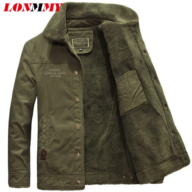Lonmmy Épaisse vent Doublure khaki Armée Coupe Plus Manteau Vert Vêtements Survêtement Veste 5xl Velours Masculine Hiver 2018 Black Hommes De green Coton DH29EWI