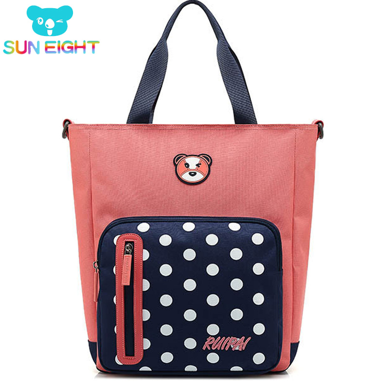SUN EIGHT ZIppers Kid Bags Fashion Study Handbag School Bag Kid Shouler Bags Children Food Bag