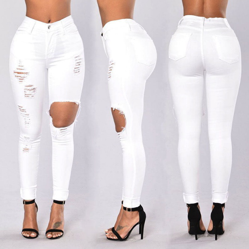 Drop Shipping Sexy Casual Jeans Hole Elastic Stretch Jeans Women White Jeans Women High Waist Skinny Pencil Denim Pants Ripped