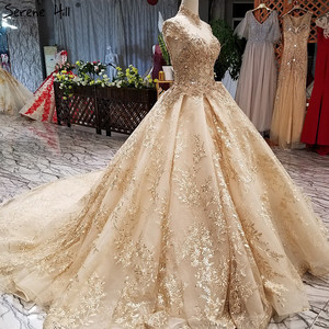 Image 3 - Di Lusso di Alta Del Collare Del Ricamo di Perle Abiti da Sposa 2020 di Modo Dellannata di Alta End Principessa Sexy Abito da Sposa Immagine Reale