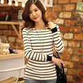 New Autumn Lady Striped Fashion T-Shirts Size S-2XL O-Neck Cotton Casual White Tees Women Long Sleeve Tops